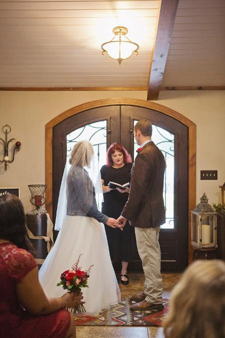 small ceremony, country, beautiful doors, private home, love